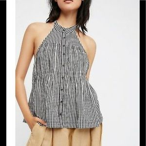 FREE PEOPLE Gingham Take It Easy Top XS